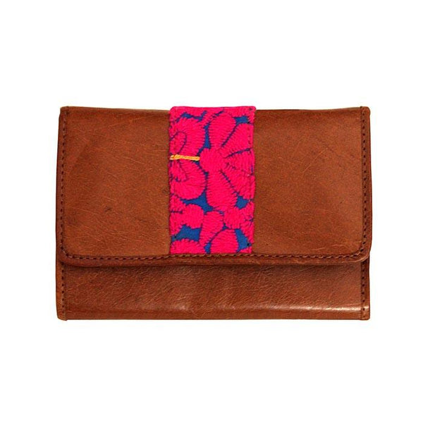 Embroidered Mobile Wristlet Wallet - Pink and Blue