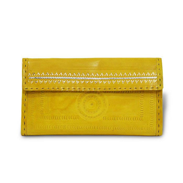 Golden Embroidery Leather Wallet- Yellow