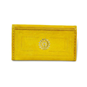 Golden Embroidery Leather Wallet- Yellow back View