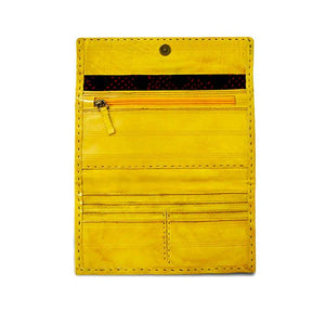 Golden Embroidery Leather Wallet- Yellow inside view