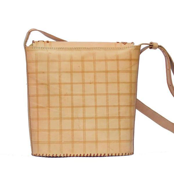 Leather Crossbody Bucket Bag - Nude