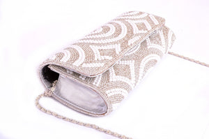 silver beaded clutch bag with pearls
