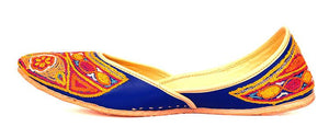 Mojari Shoes with Thread Embroidery - Blue