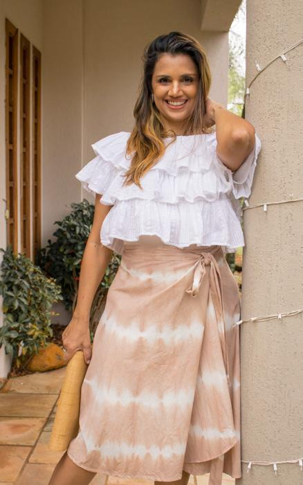 Tie Dye Midi Skirt in Organic Cotton - Nude