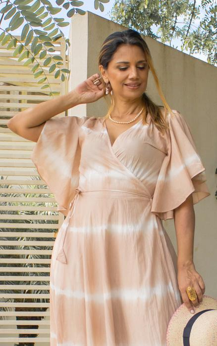 Nude Wrap Around Dress in Organic Cotton with Tie Dye Print