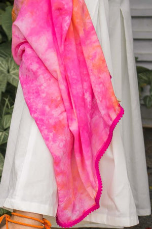 Pink Tie Dye Scarf in Ecovero Fabric