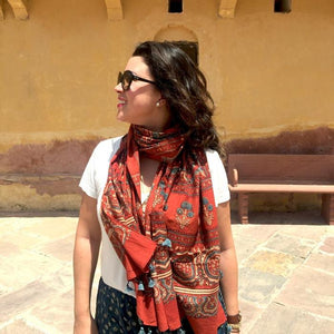 Ajrakh Block Printed Cotton Scarf - Red and Blue