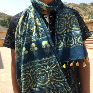 Ajrakh Block Printed Cotton Scarf - Blue and Yellow