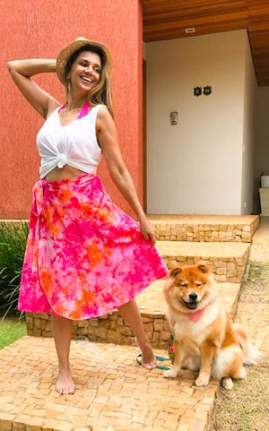 Pink Organic Cotton Wrap Around Skirt