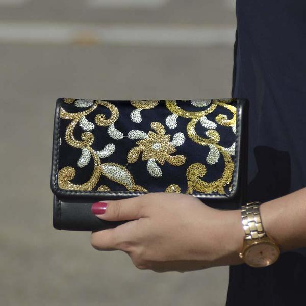 Golden Embroidered Mobile Wristlet Wallet