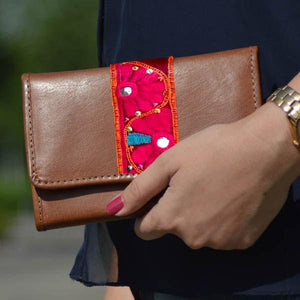 Embroidered Mobile Wristlet Wallet - Pink