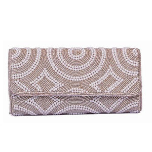 Evening Beaded Clutch Bag - (Silver) Pearl