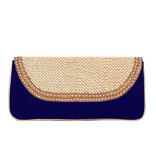 Evening Velvet Clutch Bag -Blue