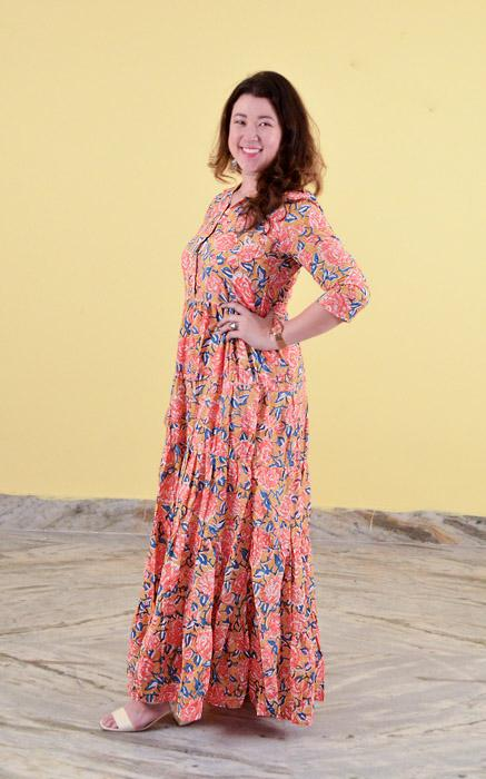 One piece long dress in Block Printed Cotton - Desert Rose