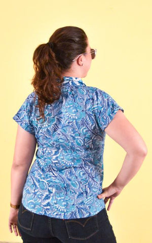 Women's Block Printing Blouse - Badal