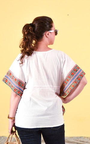 White Cotton Kaftan Blouse