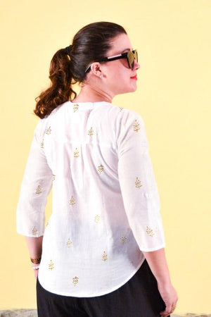 Ladies white 3/4 sleeve blouse