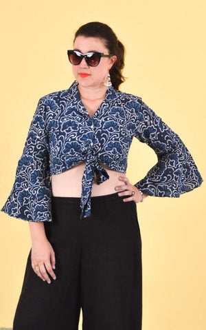 Cotton Cropped Shirt - Night Flowers