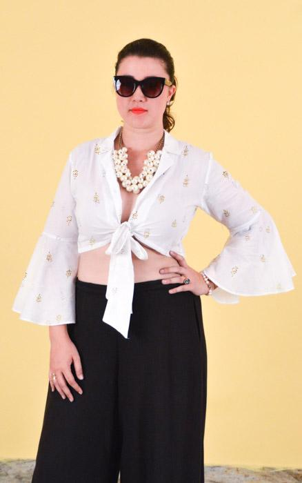 White Cropped Shirt with gold print