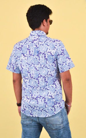 Block printing Short Sleeve Shirt - Banfasha