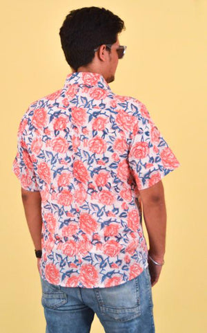 Men's cotton shirt block printed - Desert Rose