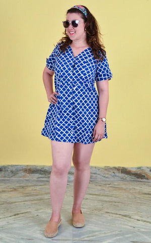 Woman's short dress Cotton - Mughal Blue