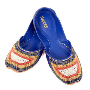 Beaded Blue Mojari Shoes