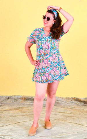 Block printing Short Dress - Monsoon