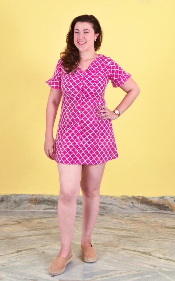 Retro Mini Dress in Cotton - Mughal Pink