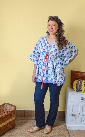 Block Printing women's kaftan top - Flower