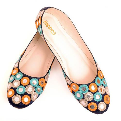 Ballerina Shoes - Blue with Mirror Embroidery