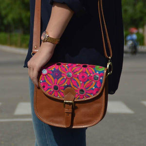 Hand embroidered Pink leather sling bag