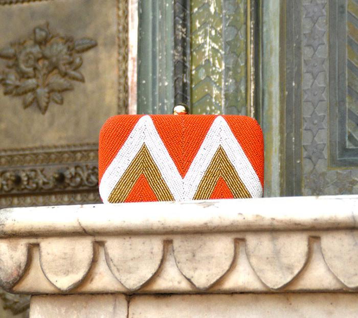 Orange Zig- Zag Clutch