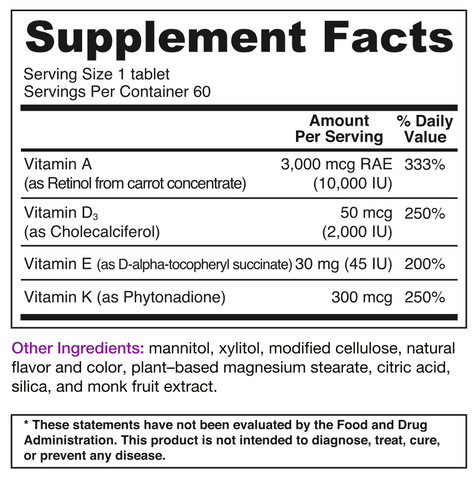BariMelts ADEK Supplement Facts
