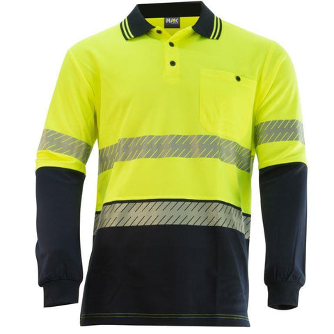KM Workwear Hi Vis 2 Tone Cotton Polo c/w 3M Segmented Reflective Tape M1331T