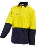 Workit Hi-Vis 2 Tone Dual Weight Half Closed Gusset Cuff Welding Drill Shirt # 2027