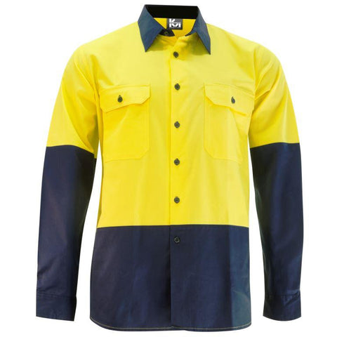 KM Workwear Hi Vis 2 Tone Lightweight Vented Shirt 2331N