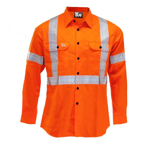 KM Workwear Hi Vis Lightweight Vented Shirt c/w 3M Segmented Reflective Tape 2333T