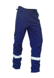 KM Workwear Drill Pants Cut To Fit Pant c/w 3M Segmented Reflective Tape M8221T