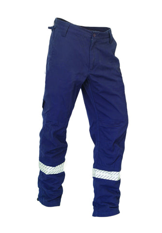 KM Workwear Drill Pants Cut To Fit Pant c/w 3M Segmented Reflective Tape #M8223T