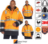 Huski - Venture Hi-Visibility Waterproof Jacket, Railway Orange #918106