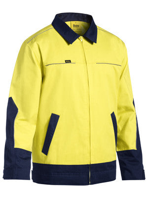 Bisley Two Tone Hi Vis Liquid Repellent Cotton Drill Jacket #BJ6917