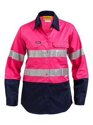 Bisley Ladies Hi Vis 2 Tone Cool Vented Taped Long Sleeve Drill Shirt #BL6896