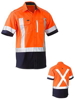BISLEY FLEX & MOVE™ TWO TONE HI VIS STRETCH UTILITY SHORT SLEEVE SHIRT BS1177XT