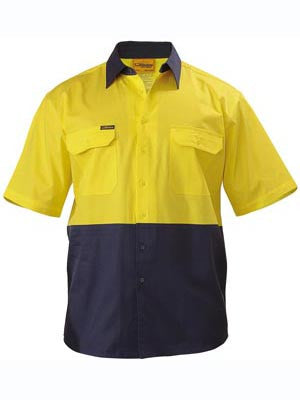 Bisley Hi Vis 2 Tone Cool Lightweight Short Sleeve Shirt #BS1895