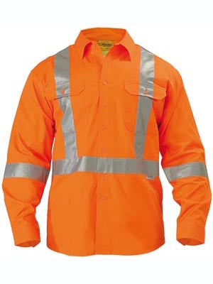 Bisley Hi Vis X Taped Drill Shirt