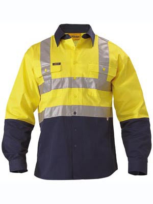 Bisley Hi Vis 2 Tone H Pattern Taped Shirt #BS6267T