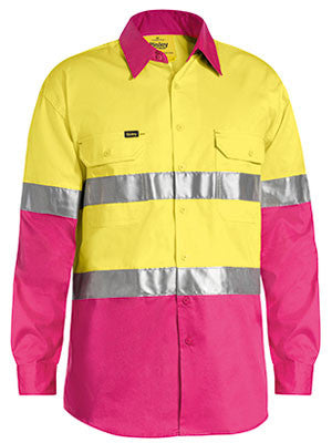 Bisley Hi Vis 2 Tone Cool Vented Taped Long Sleeve Drill Shirt #BS6696T