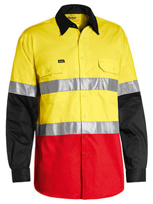 Bisley 3M Taped Hi Vis Cool Light Weight Three Tone Long Sleeve Shirt #BS6697T