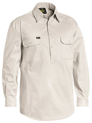 Bisley Closed Front Cotton Light Weight Drill Long Sleeve Shirt BSC6820